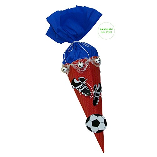 Schultüte Bastelset Fußball rot-blau - Zuckertüte - aus 3D Wellpappe, 68cm hoch, mit vorgedruckten Motiven und Netz