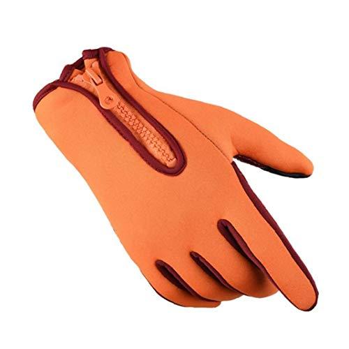 Cycling Gloves Windproof Waterproof Outdoor Winter Gloves Adjustable Zippered Touchscreen Running Warm Gloves(Yellow,XL)