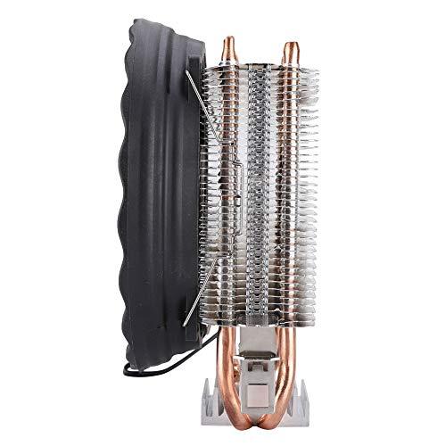 Zhjvihx Ventilador de enfriamiento de Aire, Ventilador de enfriamiento de CPU, radiador de Tubo de Calor en Forma de U de 2 Tubos, para Sistema de enfriamiento de computadora