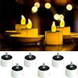 6 Pieces Solar Tea Lights Candles - Rechargeable Flickering Flameless Solar LED Nightlight with Dusk to Dawn Light Sensor for Outdoor Camping Emergency