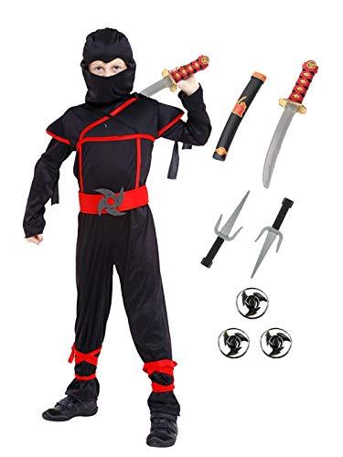 Meeyou Stealth Ninja Costume for Boys/Girls Role Play (M(Height:43″-47″), Ninja)