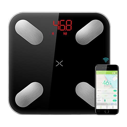 CFFDDE Bilancia Smart, Bilancia pesa Persone, Bilancia pesapersone Bluetooth Smart con App per Smartphone, Vetro temperato, con Angoli arrotondati, per Il Fitness Tracker per dimagrire,Black