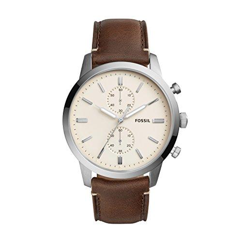 Fossil Herren analog Quarz Uhr mit Leder Armband FS5350