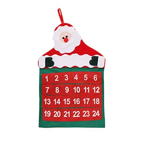 Vosarea calendario de adviento de navidad con bolsillos de 24 días calendario de adviento de fieltro 3d 2019 para niños decoraciones de interior de navidad (santa claus)