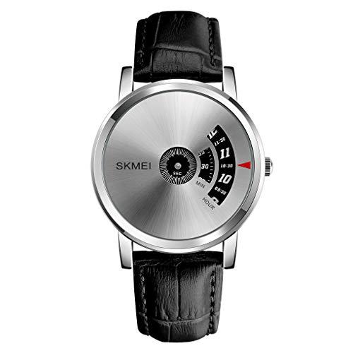 Skmei Fashion Business Simple Casual Black Leather WristWatch band Quartz Watch for Men (Silver)