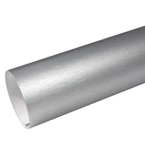 Rapid Teck® 8,55€/m² AutoFolie Serie z560 Chrom 3D Brushed Silver 1m x 1,52m Alu gebürstet selbstklebende Premium Car Wrapping Folie mit Luftkanal