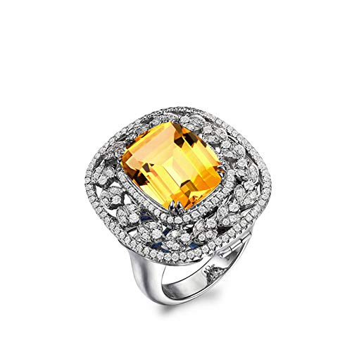 Anyeda Damen Hochzeit Verlobung Begleitring Ring 925 Sterling Silber Oval Shape Gelb Cz Ring Silber Ringgröße 58 (18.5)