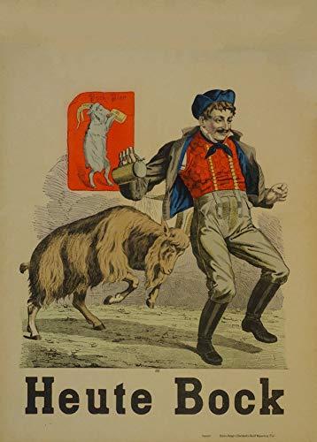 Vintage bieren, wijnen en sterke drank 'Heute Bock', Duitsland, 1900, 250gsm Zacht-Satijn Laagglans Reproductie A3 Poster