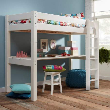 Alfred & Compagnie H169 Cabin Bed with Straight Ladder and Desk 90 x 200 cm Lilja White