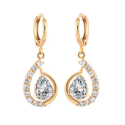 YAZILIND 18K elegantes Vergoldet plattiert Zirkonia Band Ohrringe Weiß Charme baumeln Ohrringe für Frauen