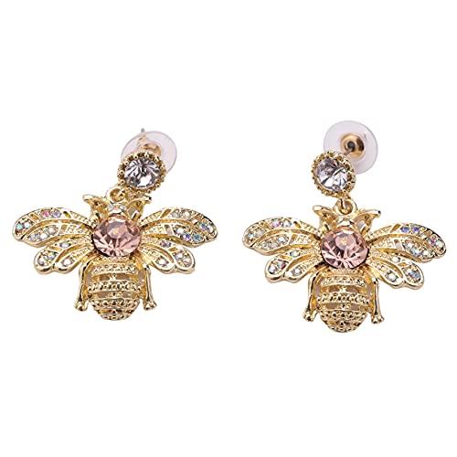 Kaxofang Linda Diamante de Imitación Insecto de Cristal Bumble de Oro Miel Stud de Abeja Aretes Pendientes de Abeja Para Mujer Chica Joyería Piercing