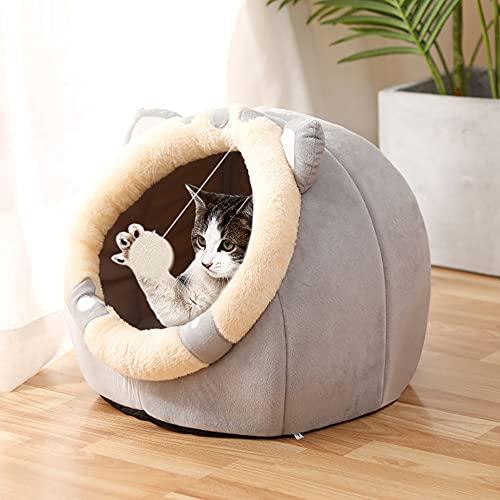 Souarts - Cama para gato, cama para perro, caseta, gato, casa de gato, bonita cama de perro, nido de cachorro, gatito, cojín para cama (grises, orejas cortas, 45 x 48 x 33 cm)