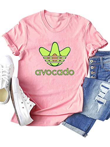Festnight Camisetas con Estampado de Aguacate para Mujer Blusa de algodón de Manga Corta con Cuello Redondo Tops de Verano de Talla Grande