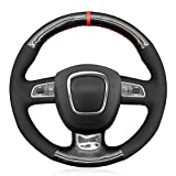OPIZKLJ Cubierta de Volante de Coche de Fibra de Carbono Cosida a Mano DIY, para Audi A3 8P Sportback A4 B8 Avant A5 8T A6 C6 A8 D3 Q5 8R Q7