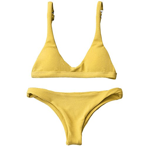 ZAFUL Women Padded Scoop Neck 2 Pieces Push Up Swimsuit Revealing Thong Bikinis V Bottom Style Brazilian Bottom Bra Sets (S, Yellow)
