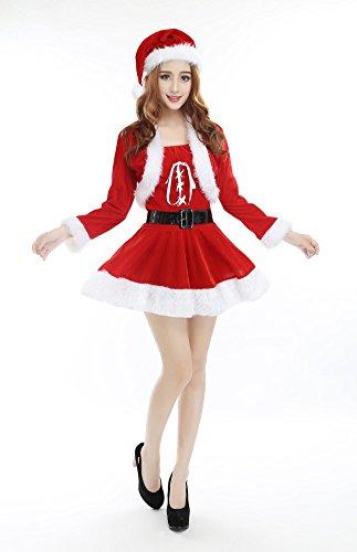 Costumi di Natale delle donne carino vestiti da Babbo Natale vestito di prestazione di fase rossa Costume di Natale partito compreso il cappello di scialle del pannello esterno un formato