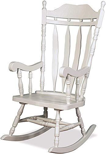 Wohnzimmer - Gewächshaus - Kinderzimmermöbel traditioneller Massivholzschaukelstuhl geschnitzt elegant und robust traditionellen Schaukelstuhl,White
