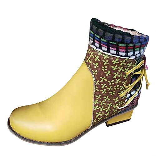 RTPR Botas de mujer vintage de caña larga con botas de vaquero, tacón en bloque, cómodas botas de moto de media altura, botas de invierno modernas botas de combate occidentales, amarillo, 41 EU