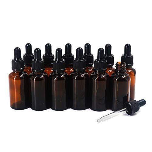 Ulable - Flaconi vuoti per Oli essenziali, in Vetro, con contagocce, Capacità: 30 ml, Colore: Marrone, Confezione da 12 Pezzi