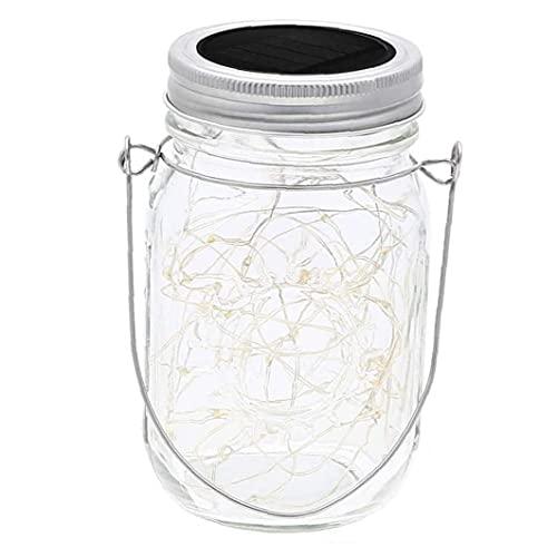XKJFZ Mason Jar Solar Lights 20 LED lámpara Colgante de Cadena Linterna con la Tapa de la manija de la decoración para el jardín Calentar 2 m de luz, Luces solares de jardín