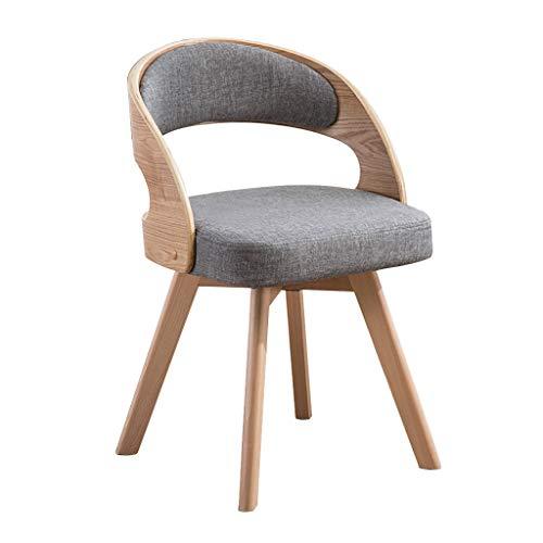 Chaise de salle à manger moderne en bois massif avec balcon et table de loisirs simple Salle à manger Chaises (Color : Gray, Size : 45 * 45 * 73cm)