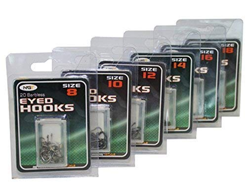 120x Carp Match Fishing Eyed Hooks Barbless Size 8 10 12 14 16 18 20 Of Each NGT