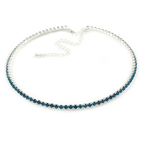 Avalaya Thin Teal Blue Top Grade Austrian Crystal Choker Necklace in Rhodium Plated Metal - 36cm L/ 10cm Ext