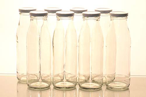 Flaschenbauer - 8 Milchflaschen 0,5 Liter mit Twist-Off-Schraubdeckeln in weiß - Weithalsflaschen mit 500 ml Volumen - geeignet als Milchflasche, Saftflasche und für Dressings oder Saucen