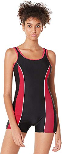 Ocean Blues Women's Athletic Boyleg One Piece Swimsuits Trainning One Piece Bathing Suit (Large, Red)