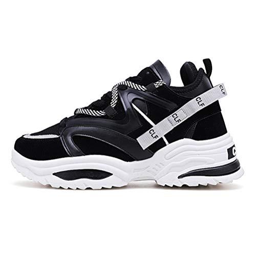 Zapatillas de Deporte para Hombre Suela Gruesa Vintage con Cordones Calzados Informales Malla Transpirable Unisex Calzado Ligero para Caminar