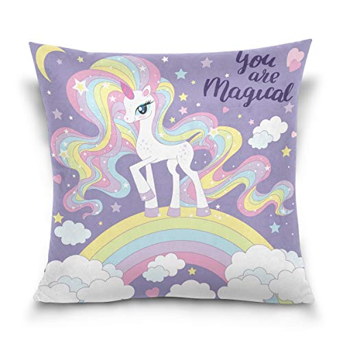 lucies Throw Pillow Case Decorative Cushion Cover Square Pillowcase, Beautiful Rainbow Unicorn Sofa Bed Pillow Case Cover(18x18inch) Twin Sides