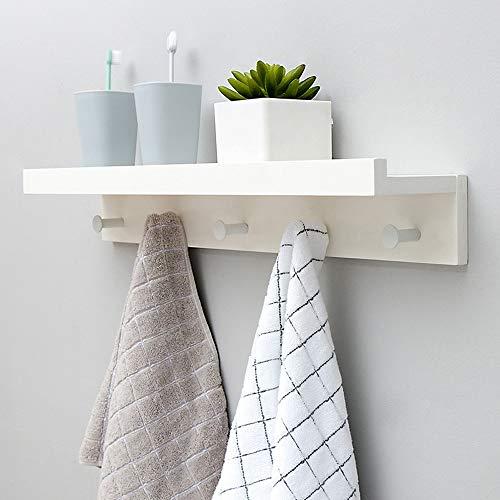 Rek met haken van massief hout, creatief wandrek, drijvende rekken met haken voor keukengerei voor badkamer 12x8x61.1cm Wit.