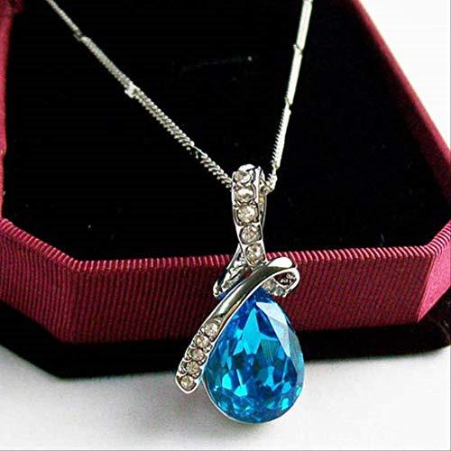 YMKMM Conjunto De Joyas De Cristal Colgante De Gota De Agua Collar Pendiente De Botón Pulsera Plateada Joyería Mujer043 Azul Marino