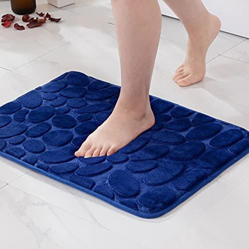 MIULEE 1 Pieza Alfombra de Baño Microfibra Antideslizante Alfombra Suave Absorbente Color Sólido con Dibujo Geométrico para Baño Dormitorio Pasillo Sala de Estar Cocina 40x60cm Azul Marino