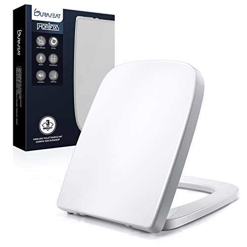 DURASEAT® DU004E Toilettendeckel Eckig, Premium WC Sitz mit Softclose Absenkautomatik, Passend zu Keramag Renova Nr. 1 Plan, Toilettensitz Antibakteriell aus Duroplast und rostfreiem Edelstahl