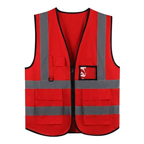 DBSCD Sicherheitsweste für Männer, rote Warnweste mit hoher Sichtbarkeit Bequeme atmungsaktive Arbeitskleidung mit Mehreren Taschen Reflektierende Sicherheitsweste Sicherheitsweste