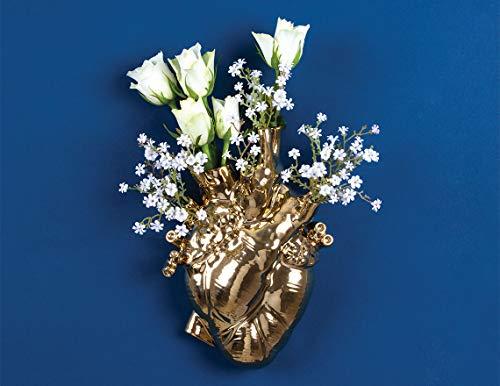 SELETTI 'Love in Bloom Gold Vaso Cuore Finitura Oro