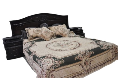 Tache 3 PC Chenille Woven Summer Green Forest Floral Quilt Bedspread Set, Twin