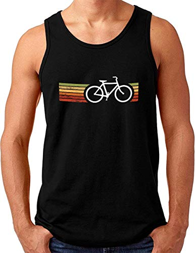 OM3® Retro Bicycle Tank Top Shirt | Herren | Cycling Cyclist Biking Fahrrad Radfahrer | Schwarz, S