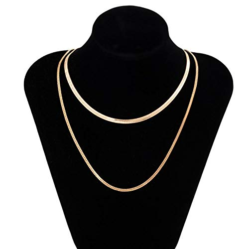 TFGUOqun Fashion Punk Multilayer Flat Snake Chain Chain Necklace Simple gold-collar necklace for female jewelry For feminine decoration (Metal Color : Necklace 1)