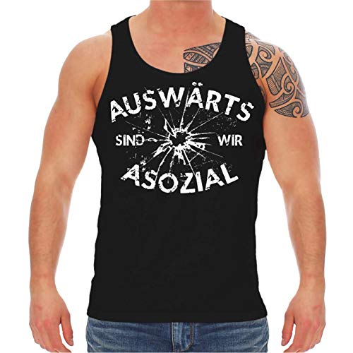 Spaß kostet Männer Muskelshirt Trägershirt Auswärts sind wir Asozial (mit Rückendruck) Größe M - 8XL