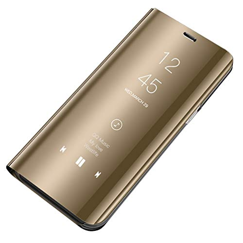 CXvwons Galaxy S9 Hülle, Galaxy S9 Handyhülle Spiegel Schutzhülle Stand Flip Tasche Case Cover für Galaxy S9, Stand Mirror Handyhülle Leder Hülle für Samsung Galaxy S9 Plus (Galaxy S9, Gold)