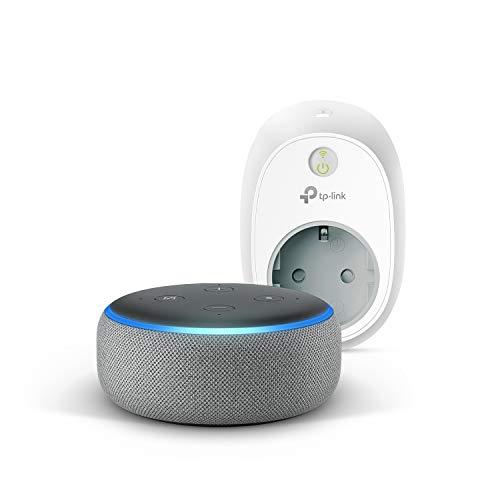 Echo Dot (3. Gen.), Hellgrau Stoff + TP-Link HS100 Smarte WLAN Steckdose, funktioniert mit Alexa