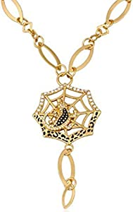 A gold plated women's pendant in the form of a spider house studded with zircon