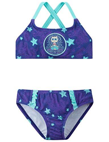 Schiesser Mädchen Beach Cat Zoe Bustier-Bikini Badebekleidungsset, Blau (Lila 820), 92 (Herstellergröße: 092)