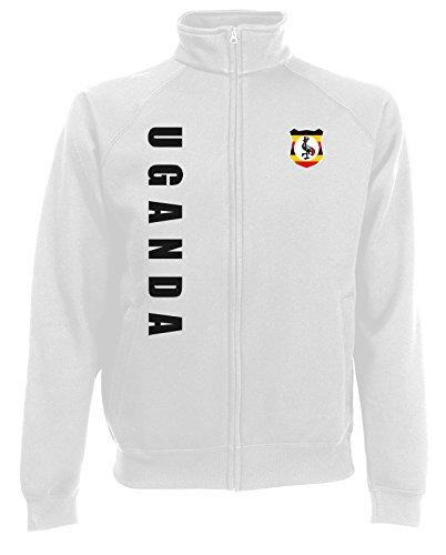 AkyTEX Uganda Sweatjacke Jacke Trikot Wunschname Wunschnummer (Weiß, XXL)