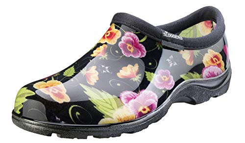 Sloggers Women's Waterproof Rain and Garden Shoe with Comfort Insole, Pansy Black, Size 9, Style...