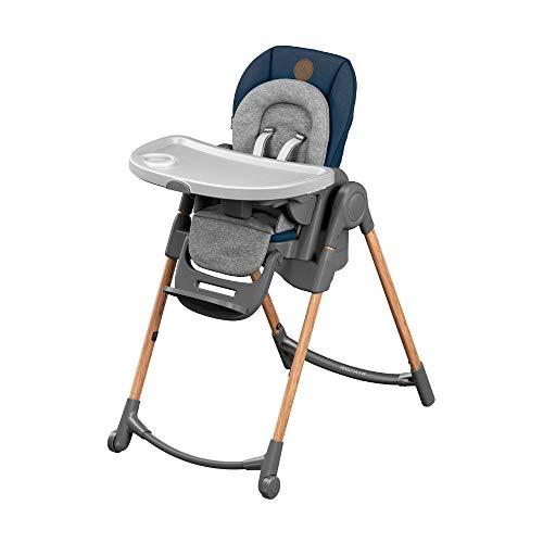 Maxi-Cosi Minla Hochstuhl, höhenverstellbarer Kinderstuhl, nutzbar ab der Geburt bis ca. 6 Jahre (max. 30kg), inkl. abnehmbarem Tisch, verstellbarer Rückenlehne & Liegefunktion, Essential Blue (blau)