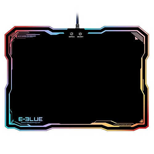 E-3LUE Hard Gaming Mouse Pad,Flashy LED Lighting Mousepad Mouse Mat Multi-Colored Backlight Effect with Autonomous on/Off,365 x 265 x 5 mm (14.4'x10.5'x0.2')