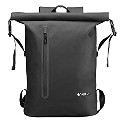 ENKEEO Waterproof Backpack 26L Laptop Daypack with 3M Reflective Strip Roll Top Travel Backpack Sports Backpack for Men and Rejoice (Black-3M)